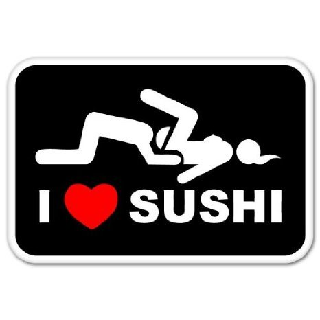 INDIGOS UG Aufkleber Autoaufkleber JDM Die Hart - I Love Sushi Adult Funny car Auto Laptop Tuning Sticker Decal Heckscheibe LKW 127mm x 76mm