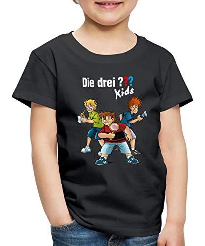 Die DREI Fragezeichen Kids Detektive Spürnasen Kinder Premium T-Shirt, 134-140, Schwarz
