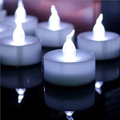 Velas LED Luces de té Velas sin llama, Vela falsa real a pilas con luz blanca congelada amarilla cálida para Halloween, Festival, Decoración de bodas (blanco frío, 12pc)