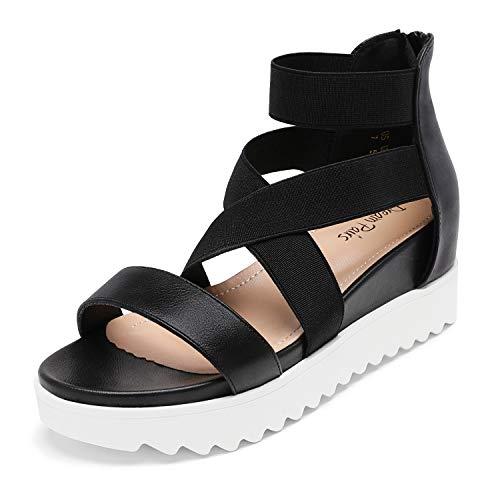 DREAM PAIRS Women's Black Platform Wedge Sandals Open Toe Elastic Crisscross Ankle Strap Casual Flatform Summer Sandals Size 6.5 M US Charlie-2