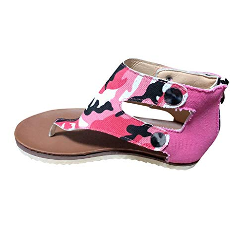 Sandalen Frauen Summer Beach Casual Camouflage Flip-Flops Flats Zipper Schuhe (39,2Rosa)