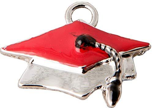 STOCK 12 PEZZI Cappello Tocco Laurea in metallo Ciondolo Applicazione de
