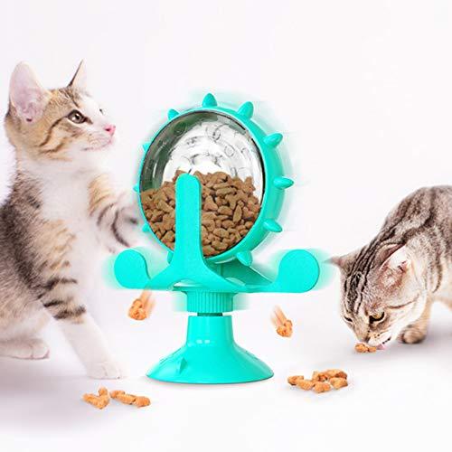 NIBESSER Interaktives Katzenspielzeug Futterball für Hunde und Katzen Windmühle Katzenspielzeug 2 in 1 Spielzeug für langsame füttern gesund für Hunde und Katzen zum Spielen, Füttern, Trainieren
