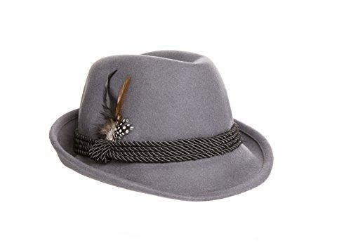 Holiday Oktoberfest Wool Bavarian Alpine Hat - Gray Color - Size Extra Large
