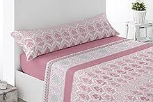 Juego de sábanas Estampadas de Microfibra Transpirable Mod. Corpia (Disponible en Varios tamaños y Colores) (Rosa, Cama de 135 cm (135_x_190/200 cm))