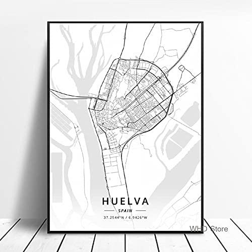 """Mapa De La Ciudad Del Mundo En Blanco Y Negro Huelva Alicante Valladolid Pinturas En Lienzo PóSter Impreso Cuadro ArtíStico De Pared DecoracióN Para Sala De Estar 50x70cm (20x28"""") Sin Marco"""