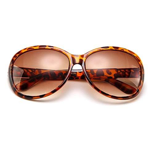 Meijin Gafas de sol redondas para mujer, color negro, estilo retro, vintage, grandes gafas de sol para mujer (lentes de color: LEOPARD)