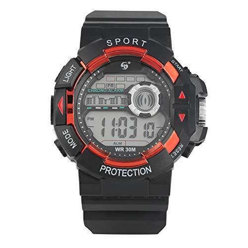 Elektronische Armbanduhr für Freizeit/Sport-Taucher, klassisch, schwarz-orangefarbenes Gehäuse, elektronische Uhren für Jungen, leuchtende Funktion und Kalenderanzeige, Armbanduhr für Studenten