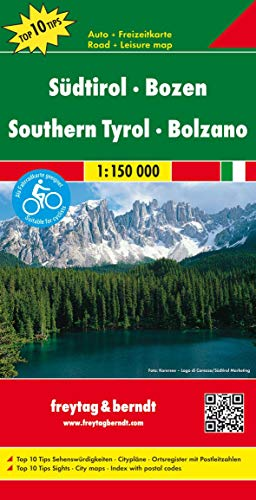 Alto Adige-Bolzano 1:150.000: Top 10 Tips Sehenswürdigkeiten. Citypläne. Ortsregister mit Postleitzahlen: AK 0611 (Auto karte)