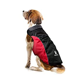 IREENUO Dog Coat, Waterproof Coat for Small Medium Dogs, Warm Dog Jacket with Fleece Lining & Reflective Safety Strips XS