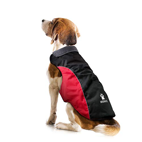IREENUO Dog Jacket Waterproof, Warm Dog Raincoat for Fall Winter, Reflective Adjustable Rainproof Puppy Coat for Small Medium Dogs - M