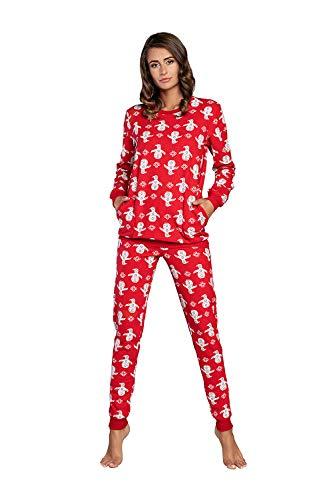 Damen Schlafanzug aus Baumwolle, Ladies' Pyjama Set Long-Sleeved, Checked Pyjama...
