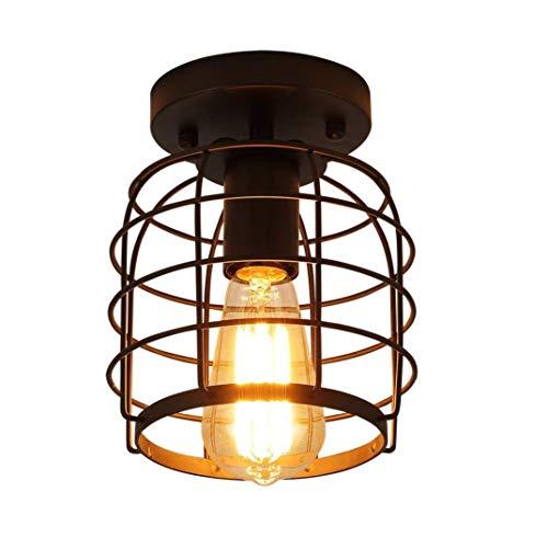 K.LSX Industrial Vintage Semi Flush plafondlamp, rustieke metalen kooi hanglamp Retro Steampunk verlichting armatuur voor hal trap keuken garage, E26, zwart