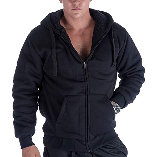 LeeHanTon Fashion Hoodies for Men Full Zip Up Sherpa Lined Sports Sweatshirts Mens Winter Fleece Fabric Jacket with Hood (Black, L)