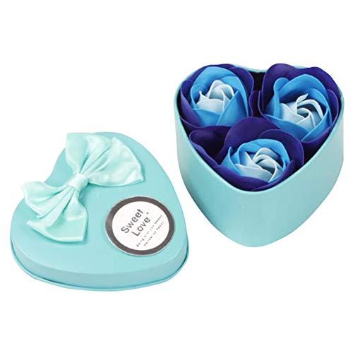 Xiton 1 Paquet Flora ParfuméE Savon De Bain Rose Fleur Plante Huile Essentielle Savon Savon Fait Main Fleur Savons BoîTe Cadeau Pour Anniversaire, Mariage, Saint Valentin(Bleu)