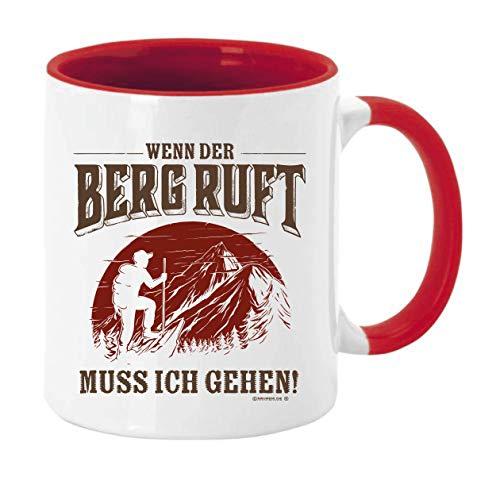 KMC Austria Design Tasse Kaffeebecher mit Motiv für Bergsteiger Gipfelstürmer und Wanderer Höhe: ca. 9,7 cm, Ø ca. 8,2 cm Material: Keramik Füllmenge: 300 ml Tasse im Geschenkkarton (Rot)