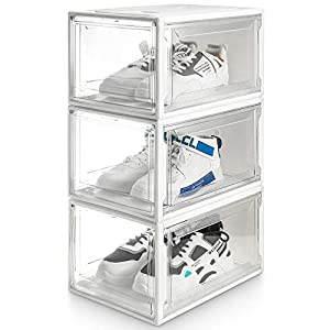 Yorbay Caja de Zapatos, Juego de 3, Organizador de Zapatos Apilable, Caja de Plástico con puerta Transparente, zapatero, 37 x 25,5 x 20 cm, para zapatos hasta la talla 48, Super Transparente blanco