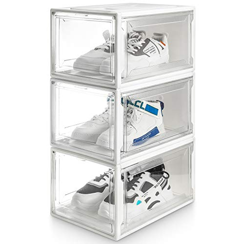 Yorbay Schuhbox, 3er Set, stapelbarer Schuhorganizer, Kunststoffbox mit durchsichtiger Tür, Schuhaufbewahrung, 37 x25,5 x 20 cm, für Schuhe bis Größe 48, Super transparent weiß