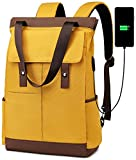 Laptop Backpack 15.6 Inch Computer Fashion Womens Convertible Tote Daypack with USB Charge Port and Suitcase Trelloy Sleeve Travel Backpack for Women and Men Hiking Backpacks (Yellow and Brown)
