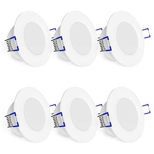 linovum WEEVO 6 Stück dimmbare Bad LED Einbauleuchten IP44-6,5W warmweiß - runde Deckenspots 230V mit flachem Einbau 29mm