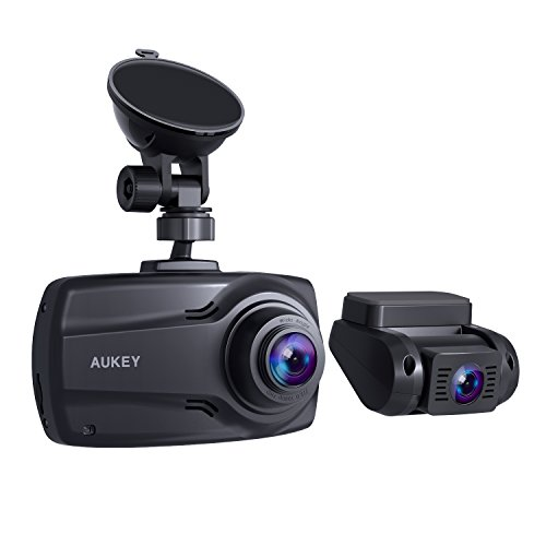 """AUKEY 1080p Dual Dash Cams with 2.7"""" Screen, Full HD Front and Rear Camera, 6-Lane 170° Wide-Angle Lens, G-sensor and Dual-Port Car Charger"""