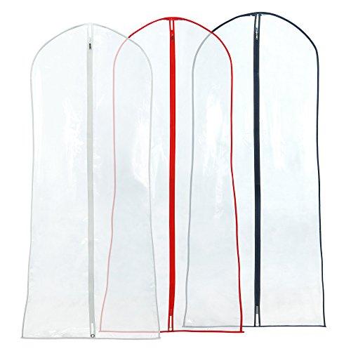 Hangerworld - Kleiderhüllen für Hochzeitskleider mit buntem Saum, 3 Stück - Transparent - 183cm