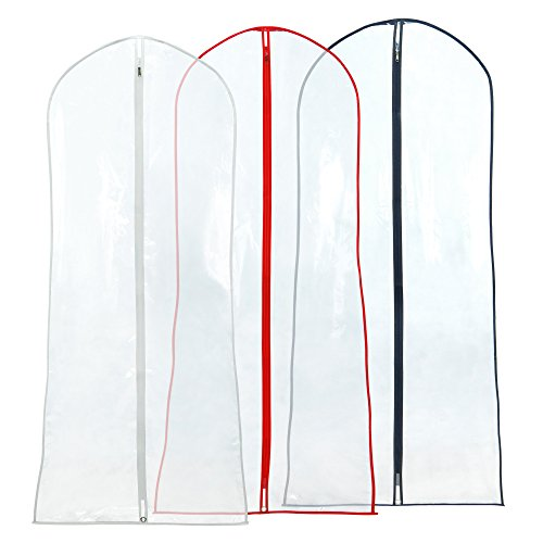 Hangerworld 183 cm (72') Showerproof Wedding Gown Dress Garment Cover Bags, Pack of 3, Mixed Trim Colours
