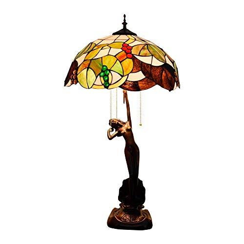 MISLD 40Cm Tiffany Tiffany Lámpara De Mesa Manchada De Hoja Amarilla Lámpara De UVA Lámpara De Sala De Estar Dormitorio para Comedor para Dormitorio