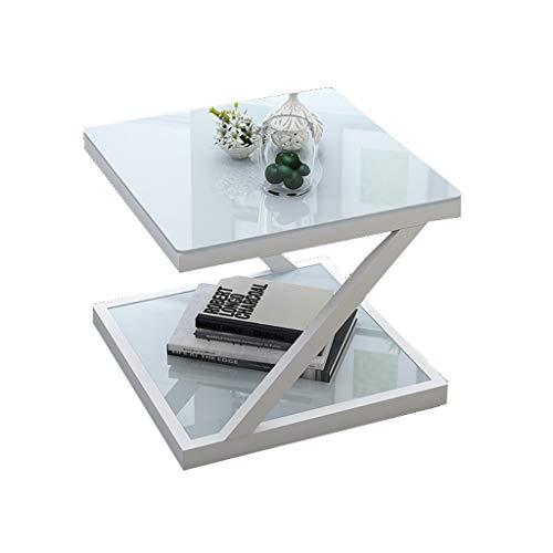LSX - salontafel kleine koffietafel, kleine vierkante tafelbank, een paar Europese mini-hoeken, een paar eenvoudige moderne gehard glas eenvoudige slaapkamer (4 stijlen, 2 kleuren). bijzettafel
