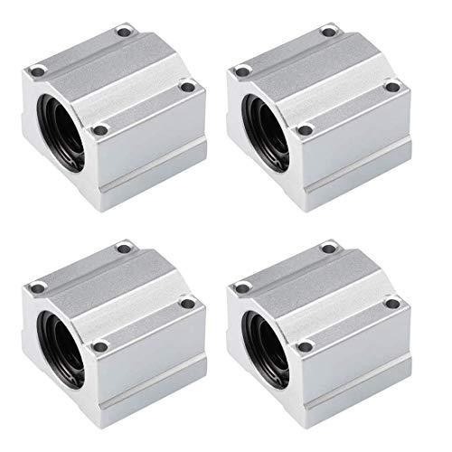 QOHFLD Accesorios de Impresora 4 Piezas de cojinete de Bolas de Movimiento Lineal buje de Bloque Deslizante SCS20UU Eje Lineal CNC Piezas de Impresora 3D