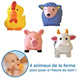 LUDI - Animaux arroseurs en plastique pour jouer dans le bain. Dès 6 mois. 4 animaux de la ferme : poule, mouton, vache et cochon. Jouet à emmener à la plage - Aspergeurs ferme - réf. 2222