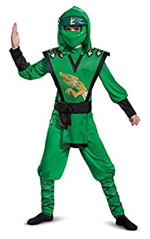 Disguise Lloyd Costume for Kids Deluxe Lego Ninjago Legacy Themed Children s Charcter Jumpsuit Child Size Small  4-6  Green & Black  105399L
