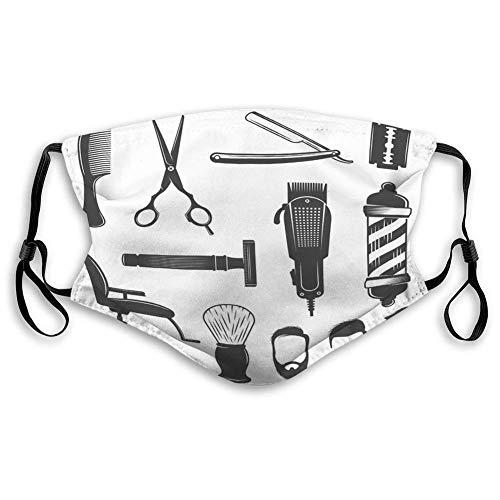 TABUE Gesichtsschutz Mundschutz verstellbar und austauschbar Barber Icon Set Friseur Arbeitsgeräte Herren H Bequem