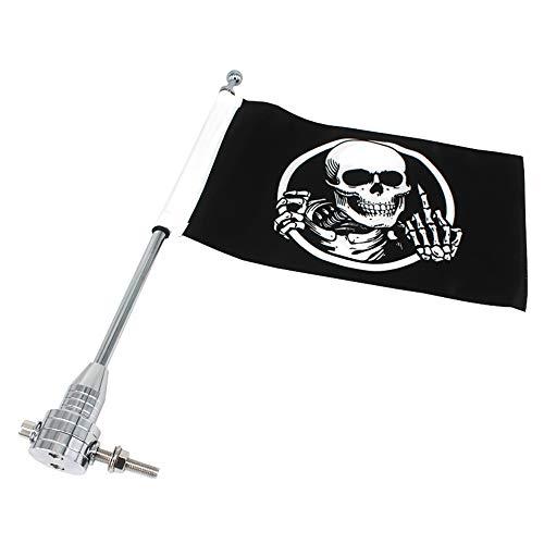 GUAIMI Motorrad Flaggehalter Fahnenstange Fahnenmast mit Skeleton Mittelfinger Flagge für Harley Davidson Goldwing CB VTX CBR