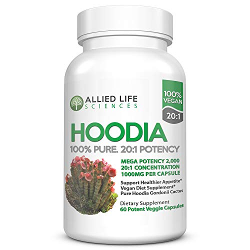 Hoodia Gordonii - Natural Vegan Appetite Suppressant Pills. 20:1 Potency is 20X Stronger Than Raw Hoodia. Stimulant Free Unlike Most Diet Pills & Weight Loss Products - 1 Bottle 60 Caps