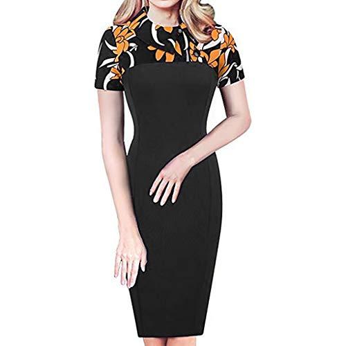 Xmiral Elegant Kleid Damen Retro Chic Colorblock Revers Karriere Tunika schlanke Patchwork Kleider(XL,Gelb)