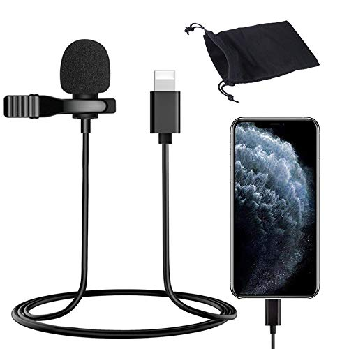 LELANG Mini Lavalier Lapel Microphone Condenser Mic for iPhone 7/8/11/X/XS/XR YouTube Vlogging Facebook Interview Livestream Video Recording 4.9 ft
