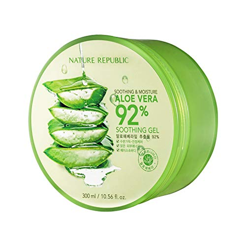 Nature Republic New Soothing Moisture Aloe Vera Gel 92 Percent Korean Cosmetics, 10.56 Fluid Ounce