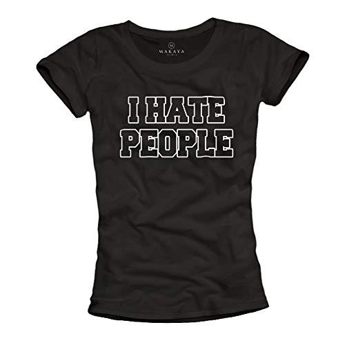 MAKAYA Camiseta Mujer con Mensaje Feminista - Odeo a la Gente - I Hate People T-Shirt Divertida Friki Top Negra Talla L