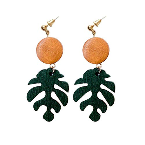 SONGAI Bohemian Fish Bone Shape Wooden Monstera Leaf Dangle Stud Earrings/Ear Clips Women Jewelry Gift,Colour Name:2# Bracelets Earrings Rings Necklaces (Color : 1#)