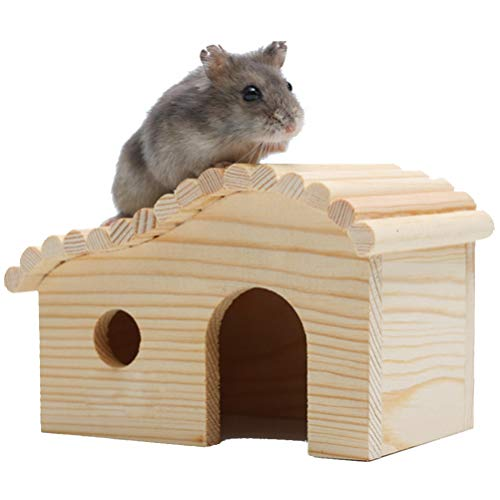 Balacoo Mascota de Madera Casa de Hámster Escondite de Animales Domésticos Rata Ratones Ratón Jerbo Jaula de Conejo Jugar Choza Hábitat de Anidación de Pequeños Animales