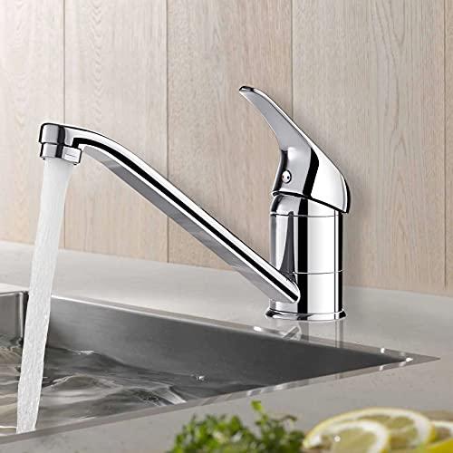 Wasserhahn Küchenarmatur, BONADE Mischbatterie 360° Schwenkbarer Küche Spültischarmatur Einhebelmischer Hochdruck Waschtischarmatur für Küche aus Messing Verchromt