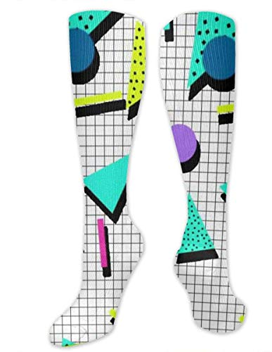 zhouyongz 80er Jahre Muster Kompressionsstrümpfe für Männer und Frauen – Best graduated Athletic & Medical für Männer & Frauen, Laufen, Flug, Reisen