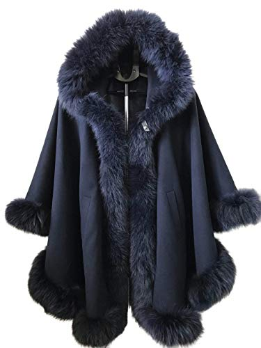 Poncho Cape hood cashmere fox fur trim