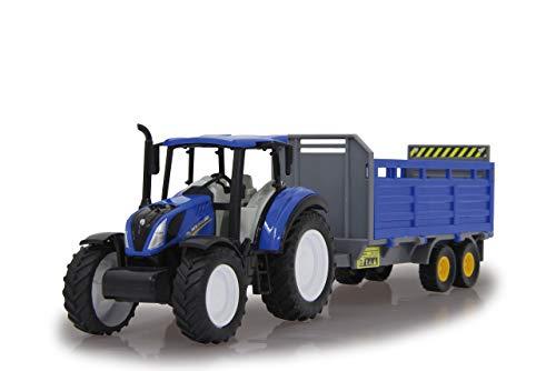 Jamara 460527 New Holland Tractor + Remolque de Ganado 1:32 con Licencia Oficial, diversión para los pequeños Agricultores, diseño detallado, Colgante Desmontable, Color Azul