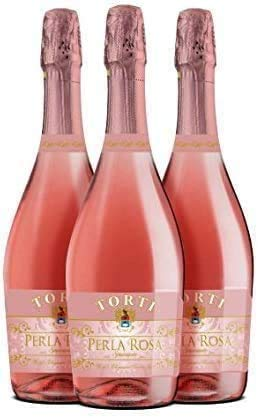 Vino rosado espumoso Perla Rosa - Fruta fresca Método Martinotti Matices Ganador del Premio Torti Estate Caso de 3