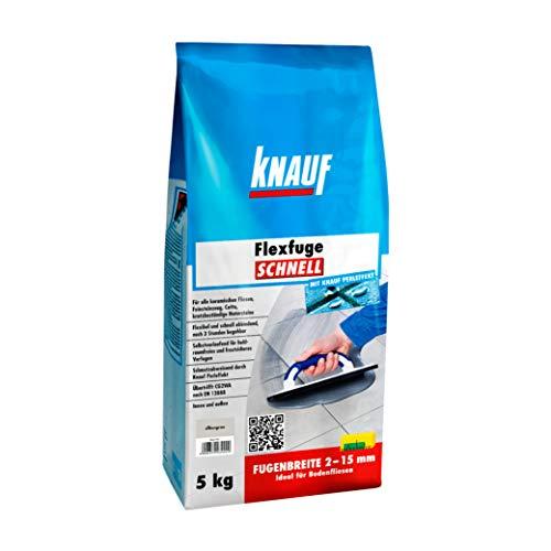 Knauf Flexfuge SCHNELL, schnellhärtender Fugen-Mörtel für alle Boden-Fliesen – flexibler Fliesen-Zement mit Extra-Haftformel, schmutzabweisende Flex-Fuge, Silbergrau, 5-kg