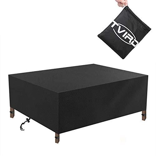 Tvird Funda para Muebles de Jardín,Copertura Impermeable para Mesas Rectangular,Cubierta de Exterior Funda Protectora Muebles Mesas Sillas Sofás Exterior 420D Oxford (280 * 180 * 90CM) -Negro