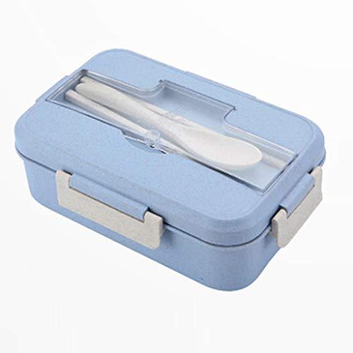 Winkey Picknick Bento 3-Fach Mahlzeit Aufbewahrungs-Lunchbox mit Besteck für Kinder Adult Weizenstroh isolierte Lunchbox Besteck-Set (Blau)