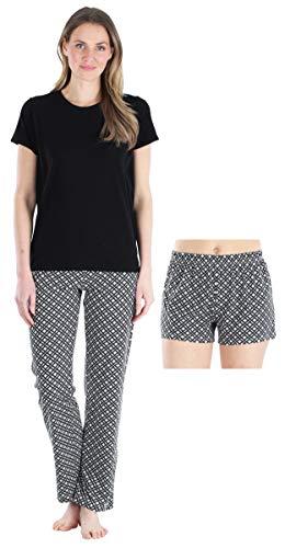 Frankie & Johnny Women's Loungewear Short Sleeve Tee Pajama Set, Grey Trellis (FJ1972-1237-MED)